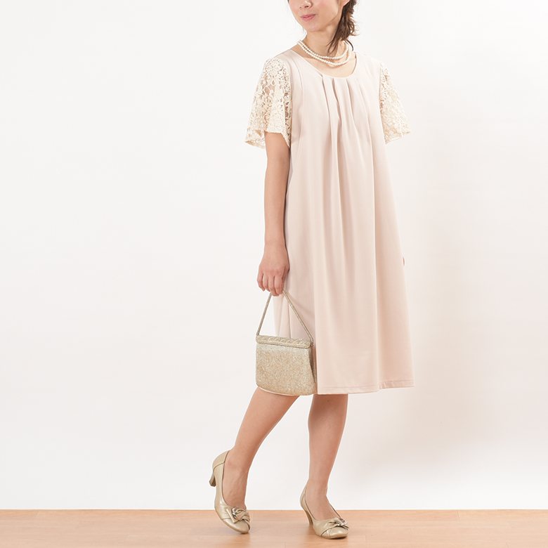 モーハウスのフォーマル授乳服ジョーゼットワンピースモデル写真2