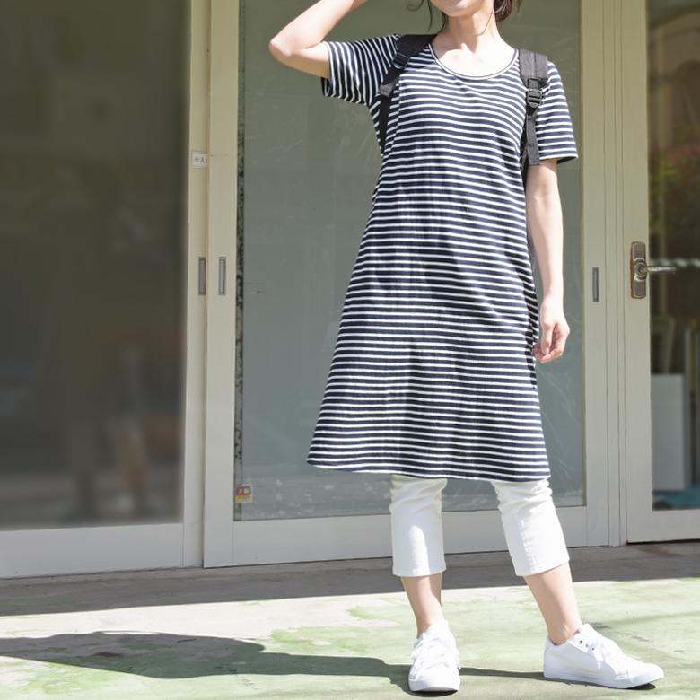 モーハウスの授乳服カノコボーダーワンピモデル写真2