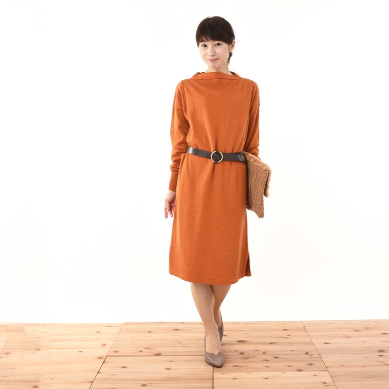 モーハウスの授乳服Iラインニットワンピモデル写真1