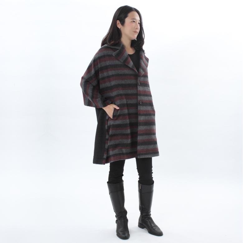 モーハウスのショール型ママコート衿ショール・シャギーボーダーモデル写真1
