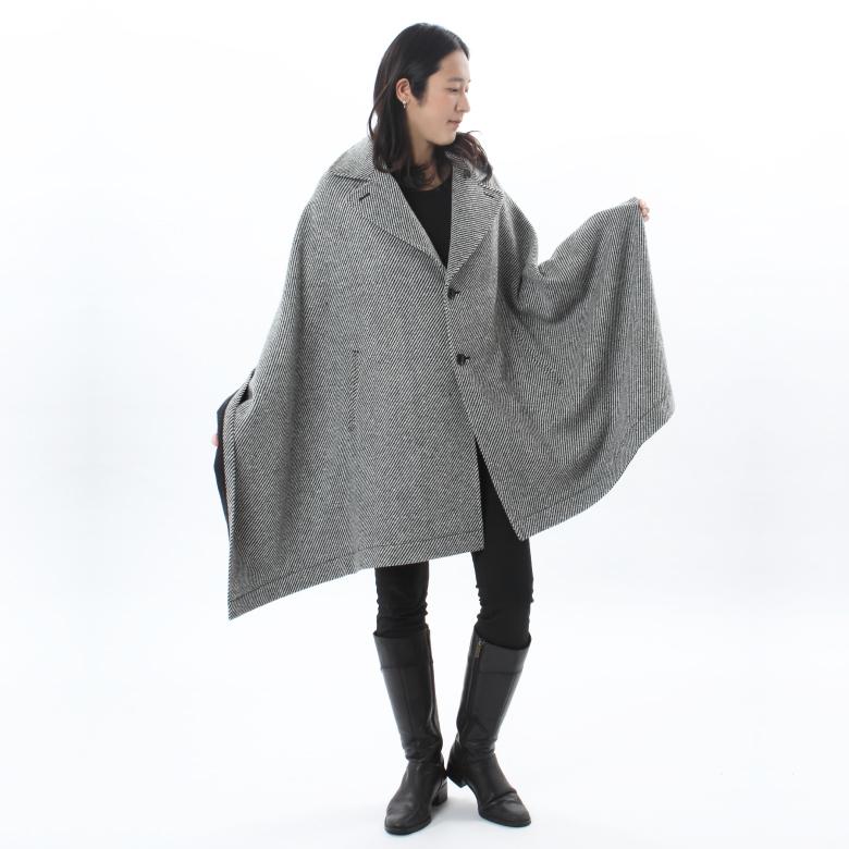 モーハウスのショール型ママコート衿ショール・ウォームツイードモデル写真1