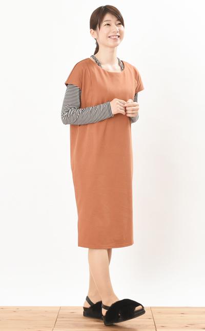 モーハウスの授乳服カジュアルストライプワンピコーデ写真1
