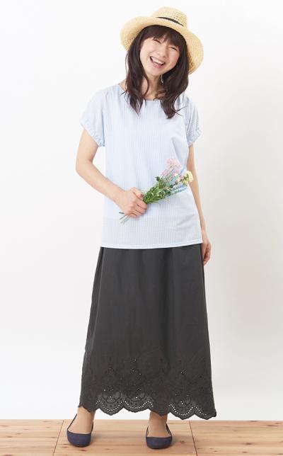 モーハウスの授乳服シェリ(ギンガム)コーデ写真1