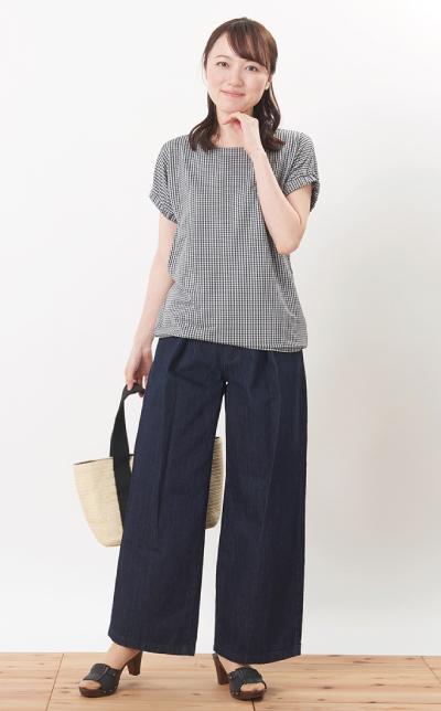 モーハウスの授乳服シェリ(ギンガム)コーデ写真2