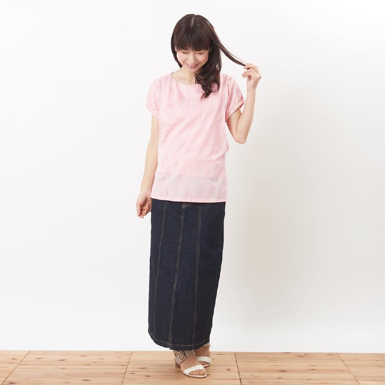 モーハウスの授乳服シェリ(ストライプ)モデル写真1