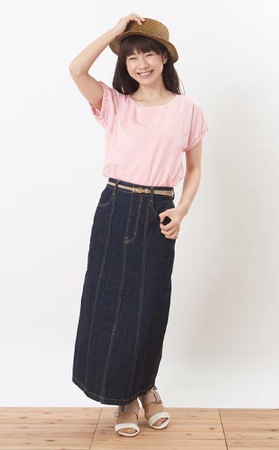 モーハウスの授乳服シェリ(ストライプ)コーデ写真1