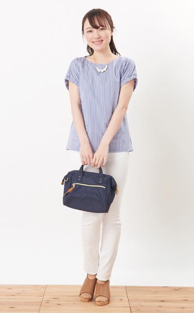 モーハウスの授乳服シェリ(ストライプ)コーデ写真2