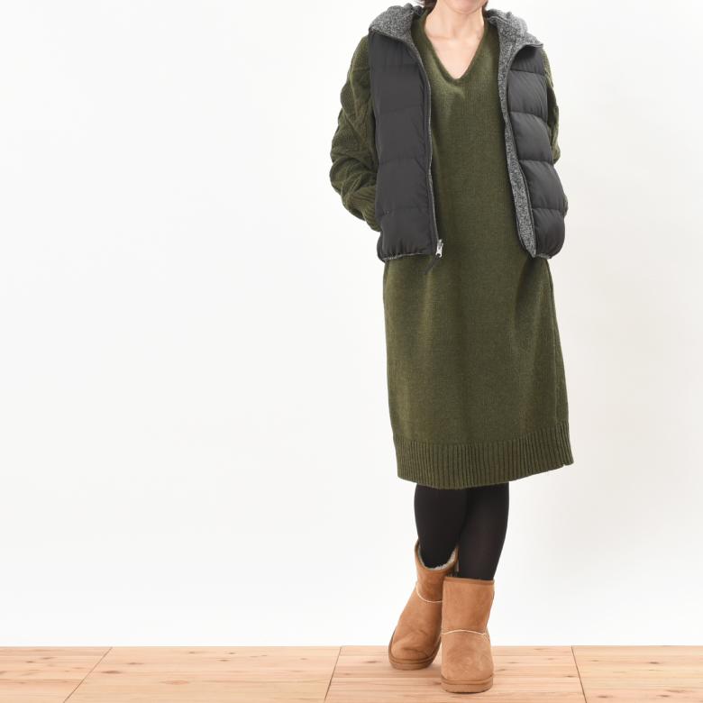 授乳服アランニットワンピモデル写真2