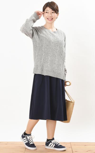 授乳服スプリンクルニットコーデ写真1