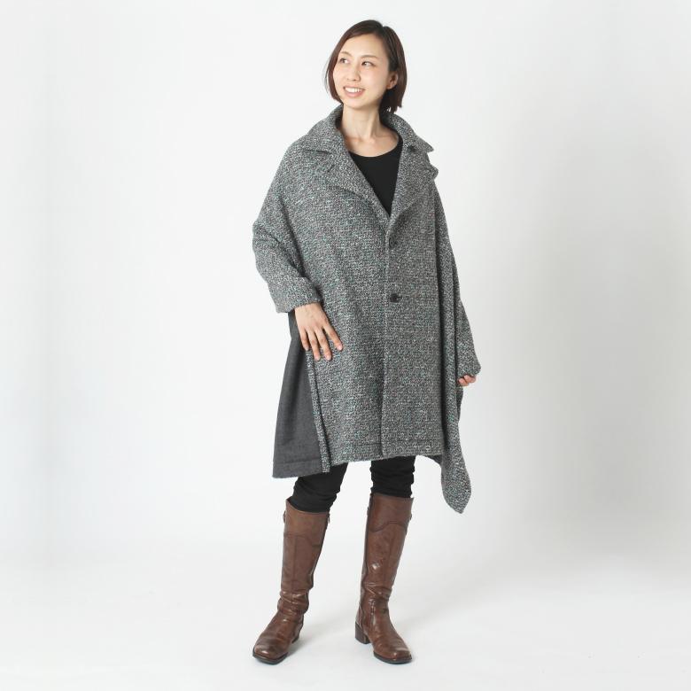 モーハウスのショール型ママコート衿ショール・プードルツイードモデル写真1