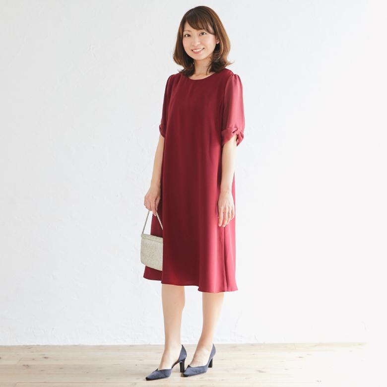 授乳服リボンスリーブワンピースモデル写真1