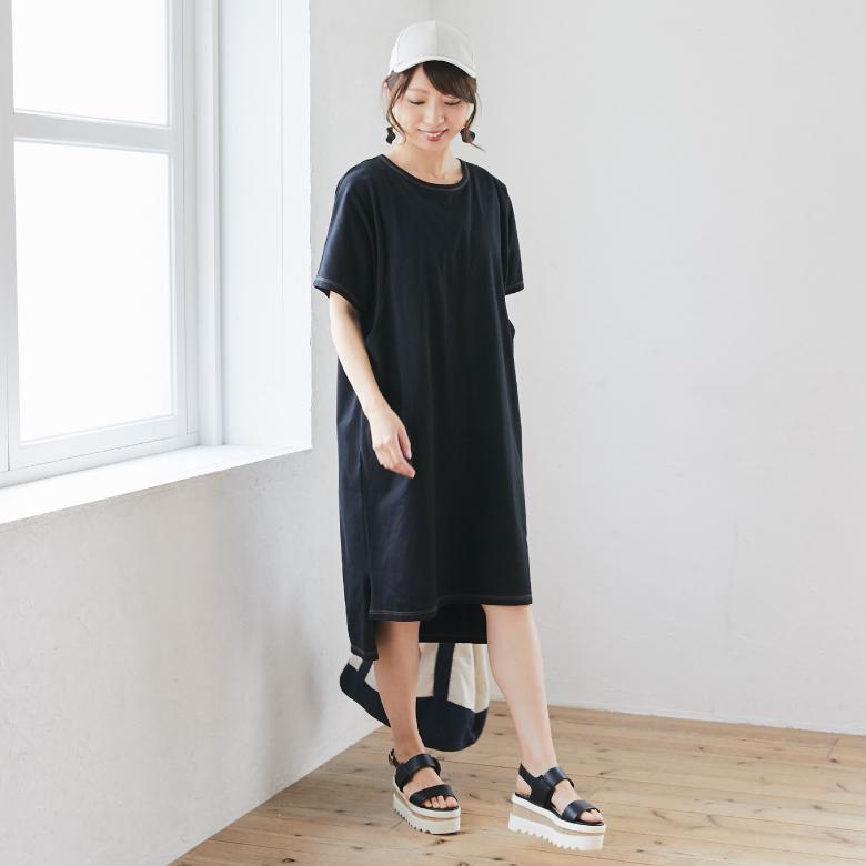 授乳服カラーステッチTシャツワンピースモデル写真1