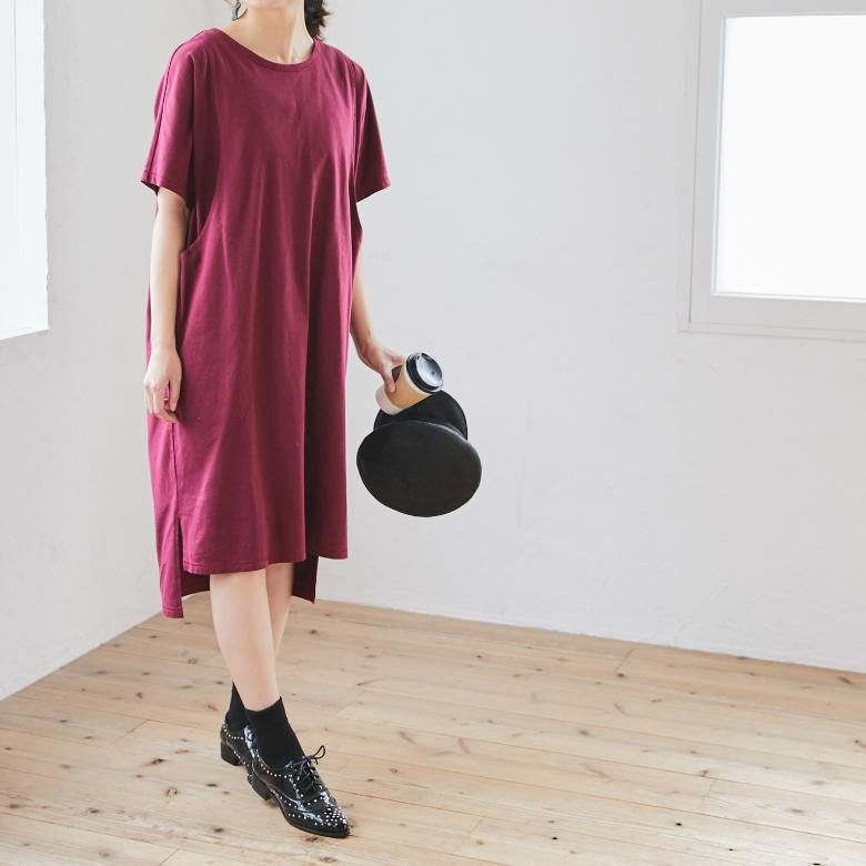 授乳服カラーステッチTシャツワンピースモデル写真2