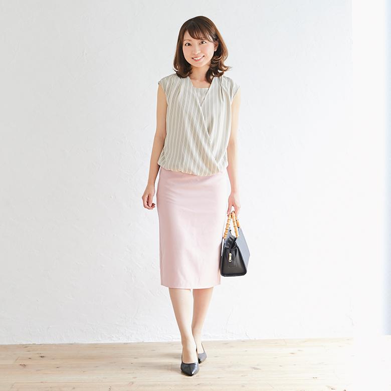 モーハウスの授乳服ストライプカシュクールトップスモデル写真1