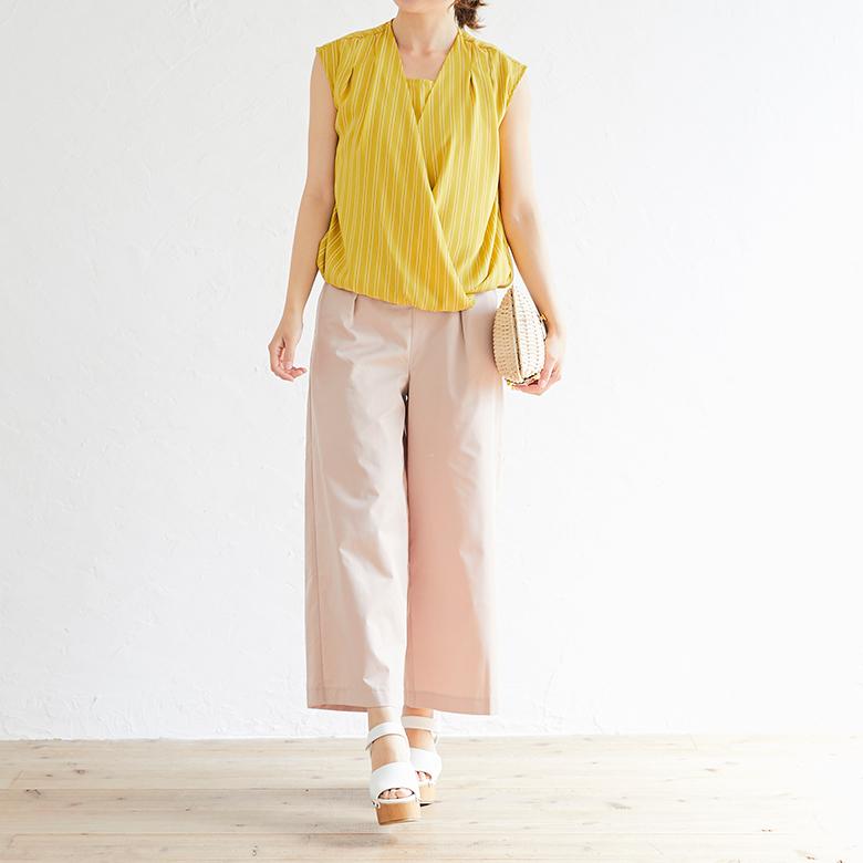 モーハウスの授乳服ストライプカシュクールトップスモデル写真2