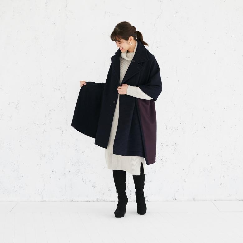 モーハウスのショール型ママコート衿ショール・格子ジャガード写真1