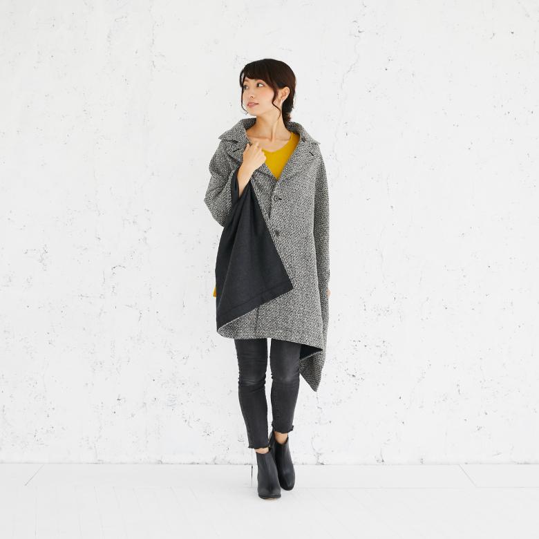モーハウスのショール型ママコート衿ショール・ネップツイード写真1
