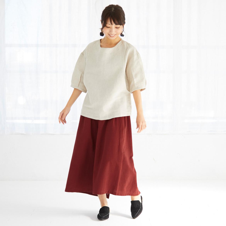 モーハウスの授乳服バックフレアーカットソーモデル写真1