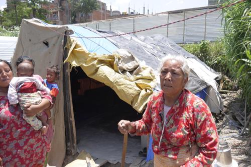 糸紡ぎの取りまとめをしてくれている一家をはじめ、を失った人々は各自の畑の近くの土地にテントを張って生活。いつもと変わらない様子のお婆さんが出迎えてくれました。