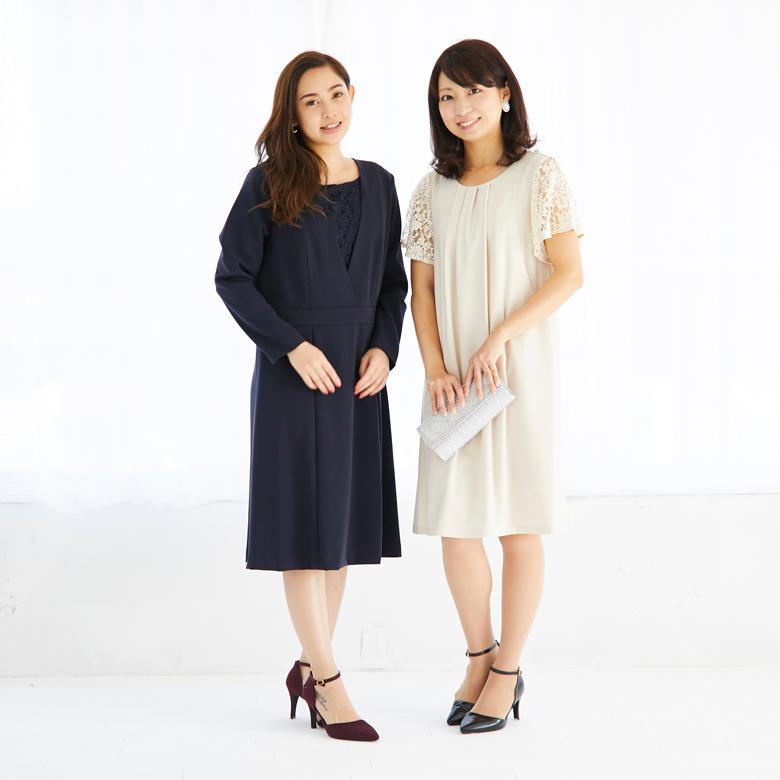 モーハウスのフォーマル授乳服 左がジョーゼットワンピ(モデル身長164cm)。右はカペラ(モデル身長160cm)