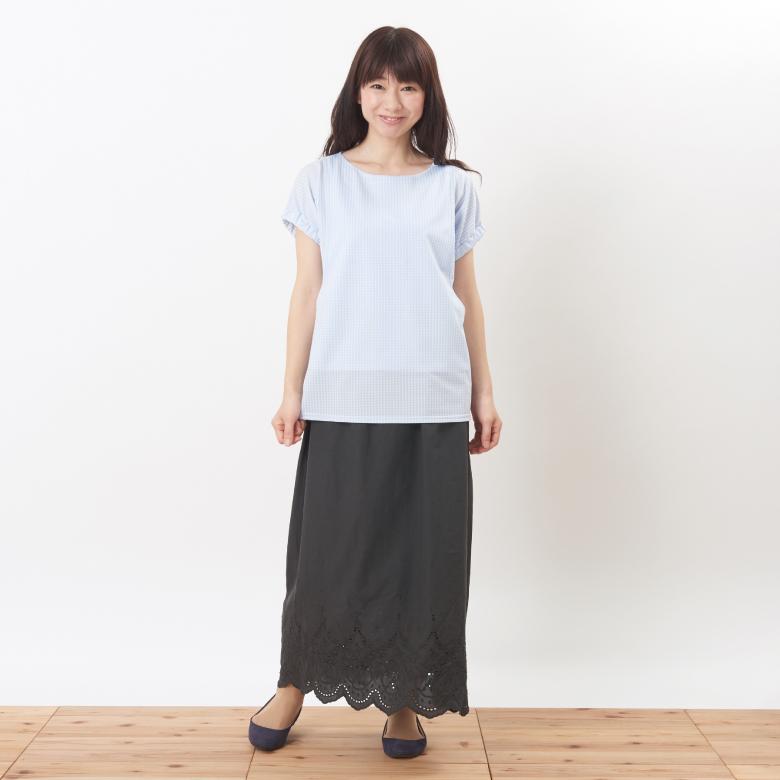 モーハウスの授乳服シェリ(ギンガム)モデル写真1
