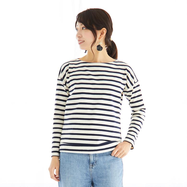 モーハウスの授乳服バスクシャツモデル写真1