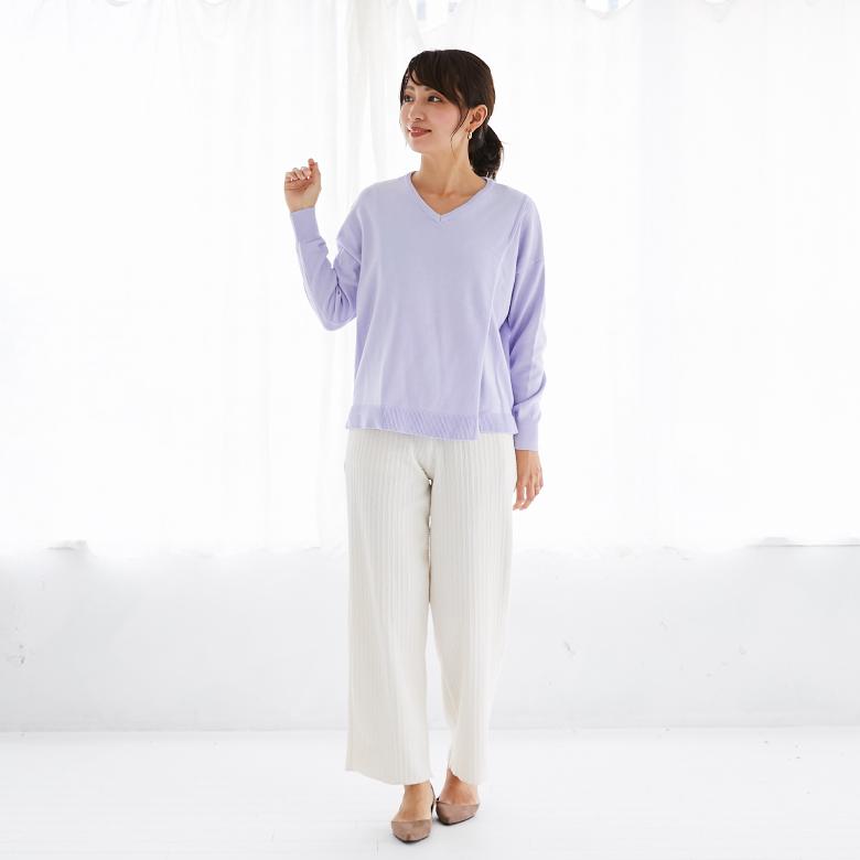 授乳服シンプルVニットモデル写真1