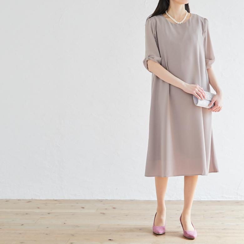 授乳服リボンスリーブワンピースモデル写真2