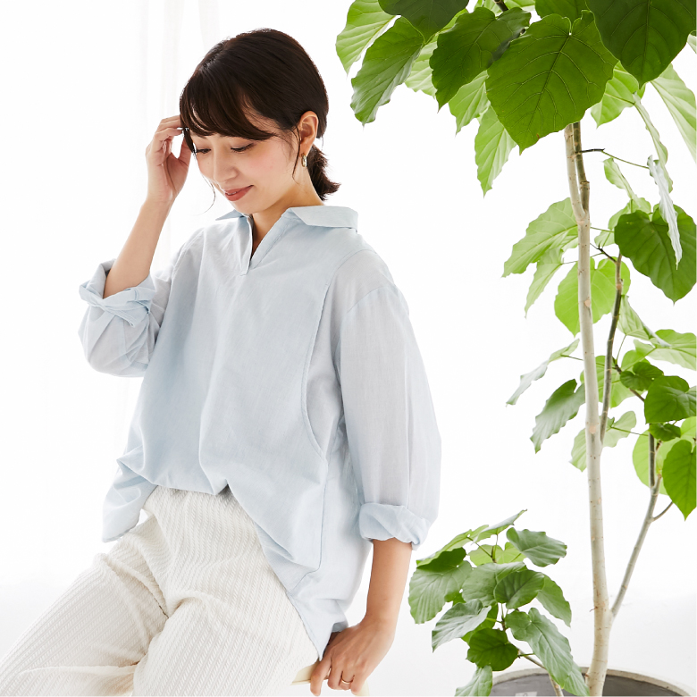 モーハウスの授乳服オーガニックコットンシャツモデル写真2