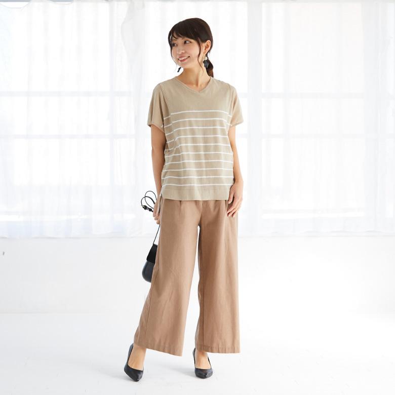 モーハウスの授乳服Vネックサマーニットモデル写真1