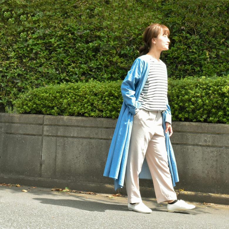 モーハウスの授乳服カシュクールワンピース(ボーダーT付き)モデル写真2