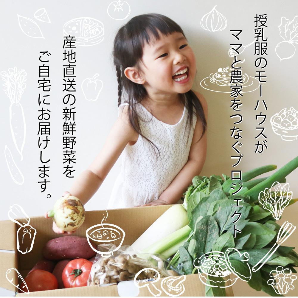 産地直送の新鮮なお野菜をご自宅に配送します。モーハウスのママと農家をつなぐプロジェクト