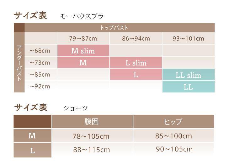 モーハウスブラ、モーブラ・クロスショーツサイズ表