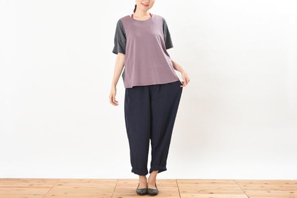 授乳服 杢グレー ネパールボトムとのコーディネイト