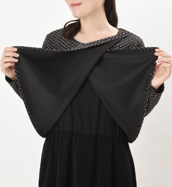 授乳服 ARARE(あられ) ワンピース インナー付きスカート ブラック