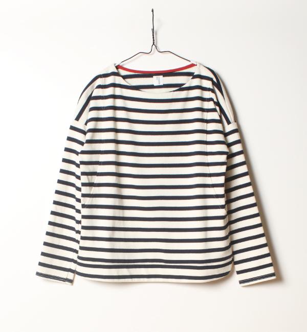 バスクシャツ 授乳服 綿100% ボーダートップス
