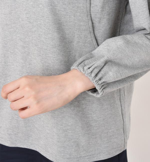 プチストライプ 授乳服 サイドスリットタイプ 授乳 袖