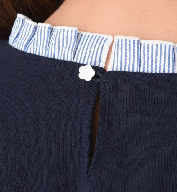プチストライプ 授乳服 サイドスリットタイプ 授乳 フリル 花 ボタン
