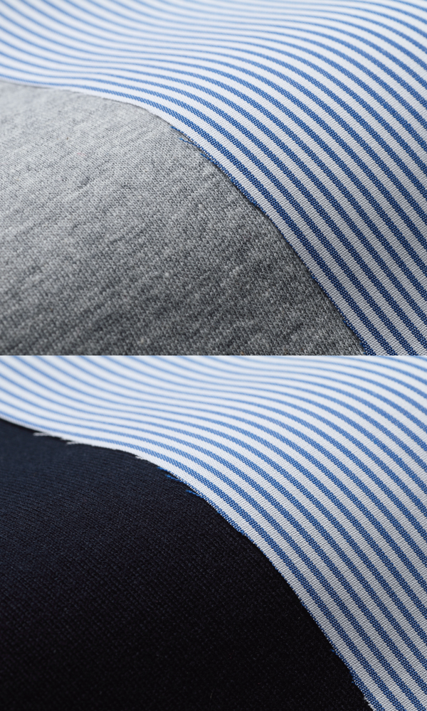 プチストライプ 授乳服 サイドスリットタイプ 授乳 ストライプ 杢グレー ネイビー