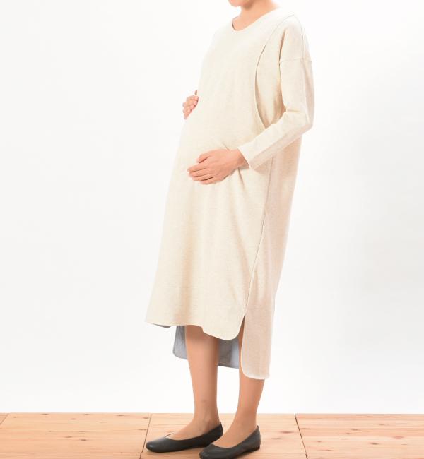 デイリーワンピ 綿100% 授乳服 マタニティ 妊婦 授乳 ワンピース