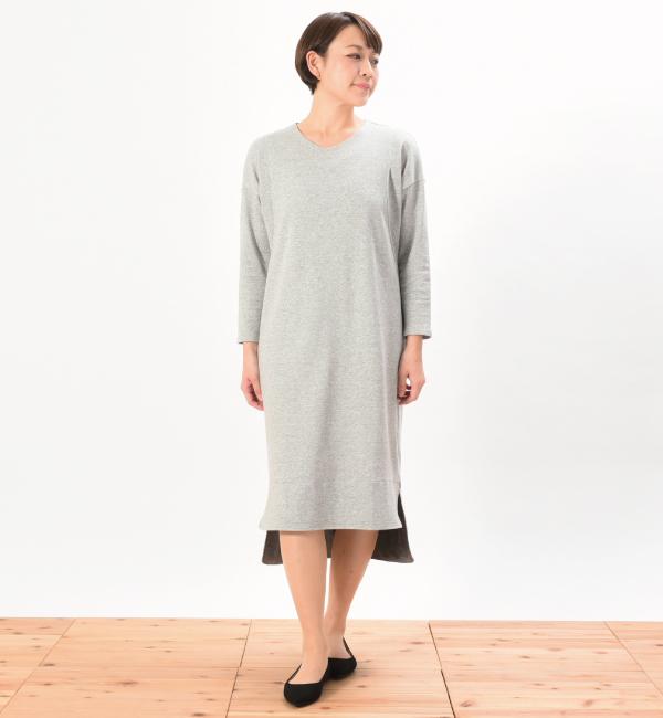デイリーワンピ 綿100% 授乳服 マタニティ 妊婦 授乳 ワンピース 杢グレー