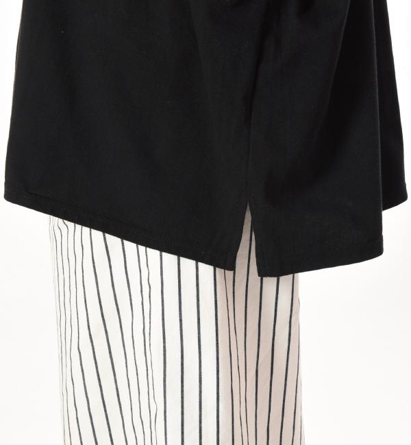 ゆったりシルエット 授乳服 サイドスリット ブラック 裾にスリット