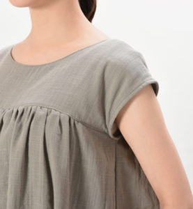 授乳服 ワンピース リエーヴル センターオープン スモークピンク フレンチスリーブ