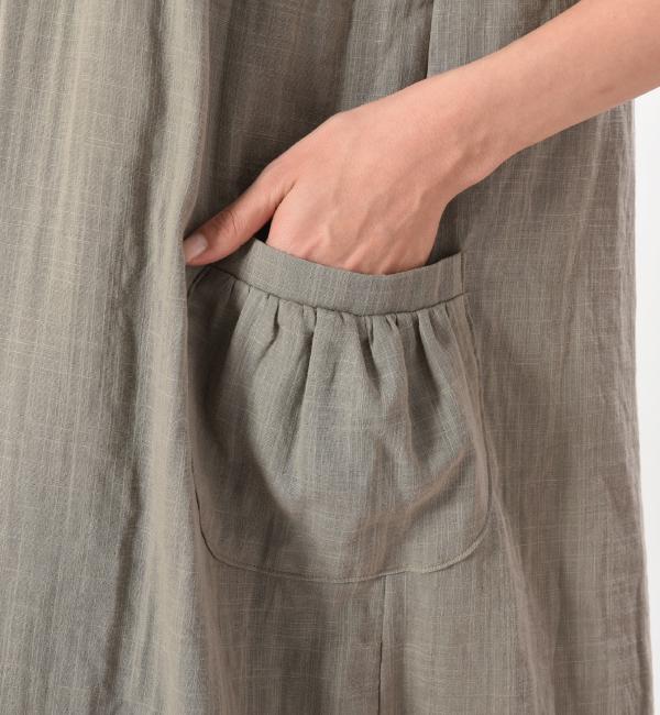 授乳服 ワンピース リエーヴル センターオープン ナチュラルカーキ ポケット