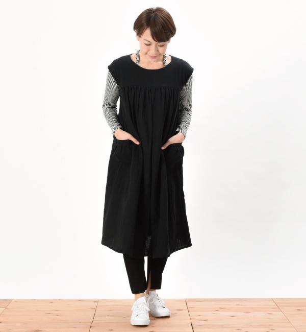 授乳服 ワンピース リエーヴル センターオープン ブラック