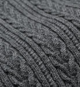 プティエール 授乳服 ニットトップス コットン100% チャコールグレー 細かいケーブル編み