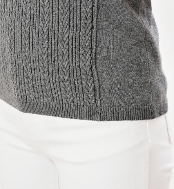 プティエール 授乳服 ニットトップス コットン100% チャコールグレー 裾はリブ編み