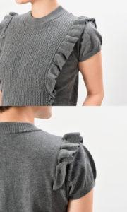 プティエール 授乳服 ニットトップス コットン100% チャコールグレー 肩のフリル