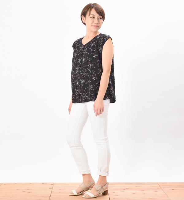 クラール ネイビー 授乳服 センターオープン ビンテージ小花柄 フレンチスリーブ