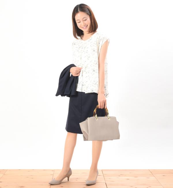 クラール ホワイト 授乳服 センターオープン ビンテージ小花柄 フレンチスリーブ